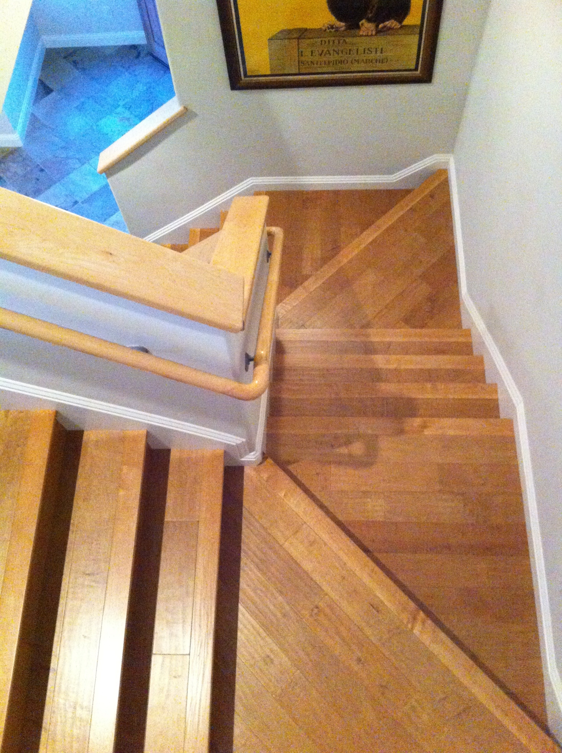 hardwood flooring handscraped maple floors this is a stair case with angled landings and the floor is a  hand scraped maple toms hardwood flooring co